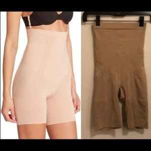 Nude high waisted full coverage Spanx shorts M
